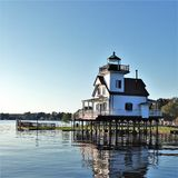 1886 Roanoke River Lighthouse on the Albemarle Sound. The Roanoke River Lighthouse sits in its permanent location overlooking Edenton Bay. The lighthouse was Stock Photos