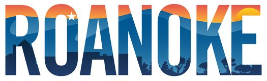 Roanoke-Stolzvektorillustration mit Bergen, Stern, Stadtbild und Sonnenuntergang stock abbildung
