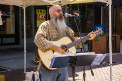 Entertainer at a Farmers Market. Roanoke, VA – August 19th: Entertainer playing a guitar and singing at Center in the Square located in downtown Roanoke Stock Photo