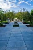 Elmwood Park – Roanoke, VA, USA. Roanoke, VA – August 25th: Fountain row with decorative tree located in Elmwood Park located in Roanoke, VA on stock image