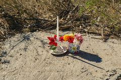 Memorial by the Roanoke River to a Woman Who Died During Hurricane Florence. Roanoke, VA – OCT 19th: Memorial on the Roanoke River Greenway for 53 year royalty free stock photo