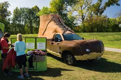 L L Bean Hunting Booth Car. Roanoke, VA – October 13th: The L L bean hunting booth car at the annual GO Outside Festival at the River's Edge Park located in Stock Photos