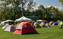 Camping at the Festival. Roanoke, VA – October 13th: Tents at the camping area at the annual GO Outside Festival at the River's Edge Park located stock photography