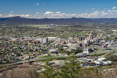 Roanoke Valley from Mill Mountain, Virginia, USA. Roanoke, VA – March 29th: View of Roanoke Valley from Mill Mountain Overlook located off the Blue Ridge Stock Photography