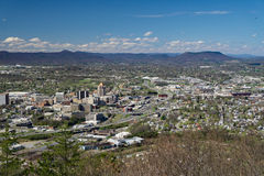 Roanoke Valley from Mill Mountain, Virginia, USA. Roanoke, VA – March 29th: View of Roanoke Valley from Mill Mountain Overlook located off the Blue Ridge Stock Images