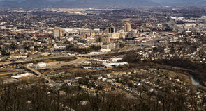 Roanoke Valley, Virginia, USA. Roanoke, VA – February 7th: A view of the Roanoke Valley from Mill Mountain overlook located off the Blue Ridge Parkway, Roanoke Stock Photo