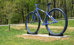 New Bike Sculpture on Mill Mountain. Roanoke, Virginia USA, April 20th: New Bike Statue located at the entrance to Mill Mountain Park spur on Mill Mountain royalty free stock images