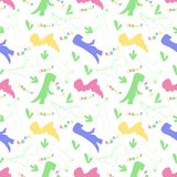 Roar and chomp. Dino pattern. Creative seamless tile with dinosaurs and letter in scandinavian style. Dino print textile. royalty free illustration