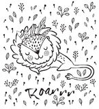 Roar. Cute sleeping lion vector illustration. Cartoon character sleeping lion. Black and white vector illustration. Funny cartoon lion vector print with text Royalty Free Stock Photo