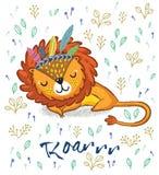 Roar. Cute sleeping lion vector illustration Stock Photos