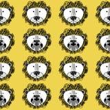 Roar Lion en leuk leeuwpatroon stock illustratie