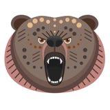 Roaring bear Head Logo. Vector decorative Emblem. Royalty Free Stock Photography
