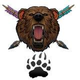 Roaring bear totem. Roaring bear head with arrows and foot print indian totem Stock Photo