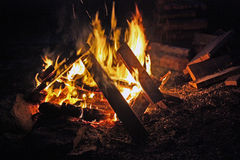 Roaring camp fire. Royalty Free Stock Images