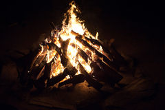 Roaring camp fire Stock Photography