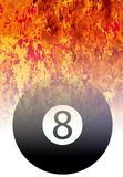 Roaring Flaming 8 Ball Sport Background. A roaring flames image background with faded eight ball Royalty Free Stock Photo