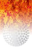 Roaring Flaming Golf Ball sport Background vector illustration