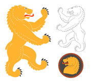 Roaring Heraldic Bear. Roaring Bear Illustration For Heraldry Or Tattoo Design  On White Background. Heraldic Symbols And Elements Royalty Free Stock Photos