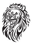 Roaring lion head. Simple icon illustration of a roaring lion head in white background Stock Photography