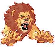 Roaring Lion Leaping Forward Vector Illustration Royalty Free Stock Image