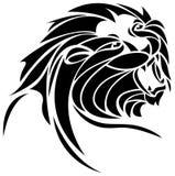 Roaring lion. Line art roaring lion black and white image Stock Photo