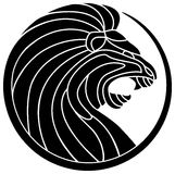 Roaring Lion. Line art roaring lion logo design with isolated white background vector illustration