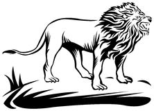 Roaring lion. Line art work with isolated white background Stock Photo