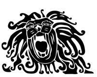 Roaring lion.Lion head. Monochromatic vector Stock Photos
