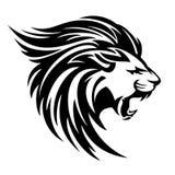 Roaring lion profile vector design. Roaring lion profile portrait - side view animal head black and white vector design royalty free illustration