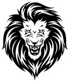 Roaring lion`s head. Head of roaring lion. Black illustration isolated on white background Stock Images