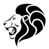 Roaring lion. Stylized illustration of male lion's head Royalty Free Stock Photo