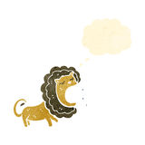 Roaring lion with thought bubble retro cartoon Stock Image
