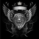 Roaring Lion Winged Shield Insignia Royalty Free Stock Image