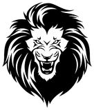 Roaring lions head. Head of roaring lion. Black illustration isolated on white background Stock Photography