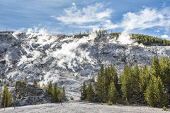 Roaring Mountain in Yellowstone National Park with hot springs and steam vents Stock Image
