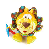 Roaring plush lion baby toy isolated on the white background. Baby toy with sound effect Stock Photo