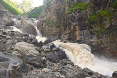 Roaring River Pushpavati on Trek to Valley of Flowers, Uttarakhand, India. The trek to Valley of Flowers from Ghangaria is accompanied by beautiful river Royalty Free Stock Photo