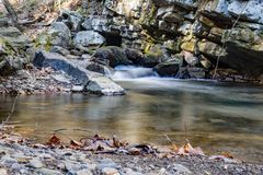 Late Autumn View of Roaring Run Creek. Roaring Run Creek through a rocky gorge located in the Jefferson Nation Forest, Virginia, USA stock images
