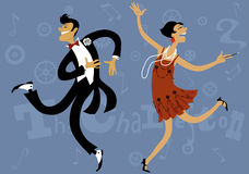 Roaring 20s. Cartoon couple dancing the Charleston, vector illustration, EPS 8 Royalty Free Stock Images