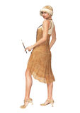 The Roaring 20s Woman Flapper Dancer Dress Stock Photography