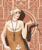 The Roaring 20s Woman Flapper Dancer Dress. 3D illustration of a woman wearing a vintage 1920's flapper dancer dress and a hat with a cigarette holder Stock Image