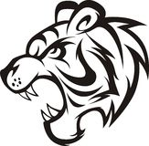 Roaring Tiger. An illustration of a the head of a roaring tiger, side view vector illustration