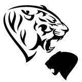 Roaring tiger head. Roaring tiger - black and white animal head design and silhouette Royalty Free Stock Photo