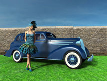 Roaring Twenties Flapper Girl Illustration. Illustration Roaring twenties flapper girl or woman standing next to a vintage, antique, classic car. The automobile Royalty Free Stock Images