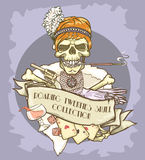 Roaring Twenties Skull label Stock Image