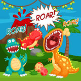 Roaring tyrannosaurus. And friends with volcano mountain Royalty Free Stock Photography