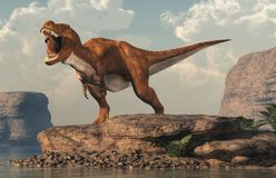 Roaring Tyrannosaurus Rex by an Arid Lake. A brown and white tyrannosaurus rex roars at you. This dangerous carnivorous dinosaur of the Cretaceous period looks stock illustration