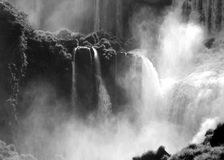 Roaring waterfall. Black and white image of a waterfall in Iguacu, Argentina stock images