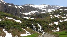 Roaring waterfalls beneath the Wildhorn peak, Switzerland