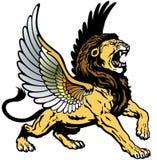 Roaring winged lion. Mythological creature, image isolated on white background stock illustration